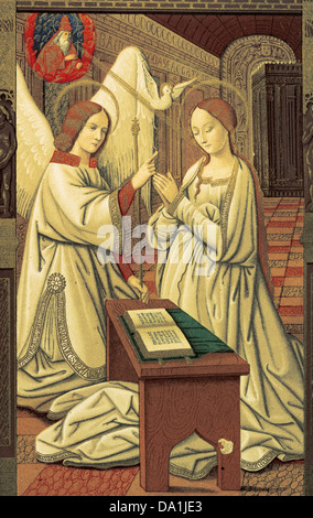 Book hours. Annunciation of Mary. Miniature. 15th century. Codex of Anne of Brittany (1475-1589). Facsimile. - Stock Photo