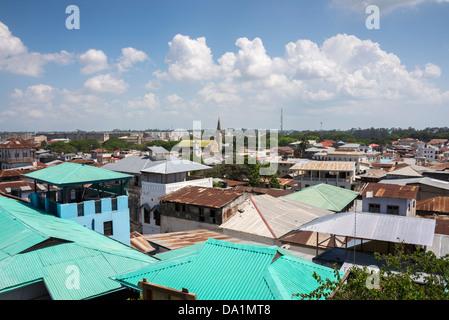 Roof top view of Stone Town, Zanzibar, United Republic of Tanzania, East Africa. - Stock Photo