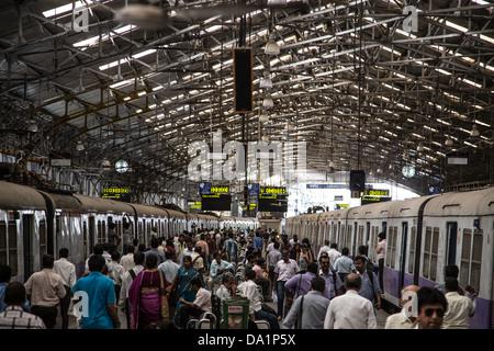 Churchgate suburban rail station, Mumbai, India - Stock Photo