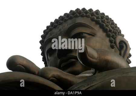THE BIG BUDDHA ON TOP OF THE PO LING MONASTERY LANTAU ISLAND HONG KONG - Stock Photo