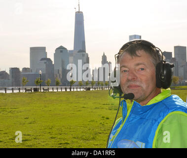 German airship flier Haimo Wendelstein sits in the nacelle of an airship in Liberty State Park at Hudson River in - Stock Photo