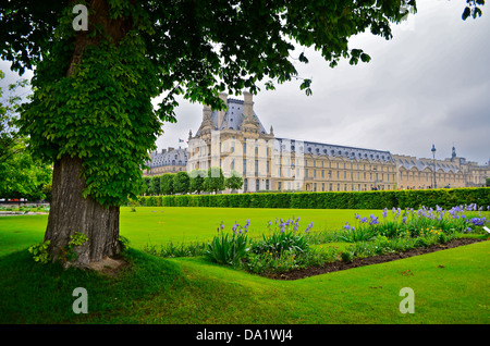 Louvre, Paris, exterior view from Tuileries gardens with cloudy sky and tree - Stock Photo