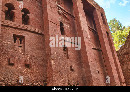 Monolithic rock-cut Church of Bete Medhane Alem, Interior, Lalibela, Ethiopia - Stock Photo
