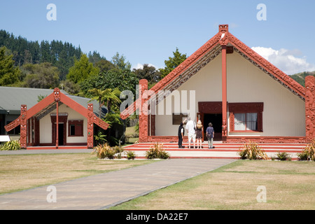 Rotowhio Marae (meeting house), at Te Puia, Rotorua, New Zealand - Stock Photo