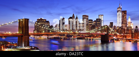 Lower Manhattan skyline in New York City. - Stock Photo