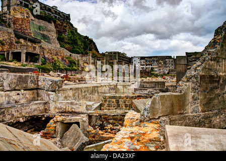Gunkanjima, Nagasaki, Japan. - Stock Photo