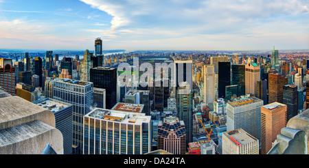 Manhattan skyline with a view of Central Park facing uptown in New York City. - Stock Photo