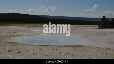 Blue sky blue steaming waters Celestine Pool, towards Fountain Flats, Fountain Group, Lower Geyser Basin, Yellowstone, - Stock Photo