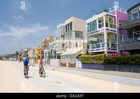 Cycling along Santa Monica Beach - Stock Photo