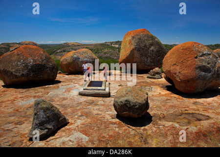 Grave of Cecil Rhodes, atop Malindidzimu, or 'World's View', Matobo National Park, Matobo Hills World Heritage Site, - Stock Photo
