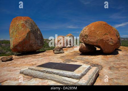 Grave of Cecil Rhodes, atop Malindidzimu, or 'World's View', Matobo National Park, Matobo Hills World Heritage Site, - Stock Photo