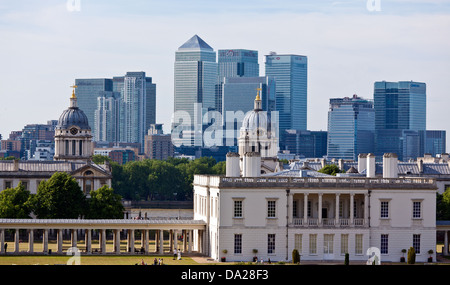 Canary Wharf and the Maritime Museum From Greenwich Park London UK - Stock Photo