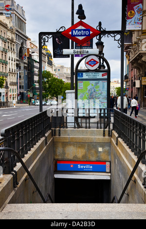 Entrance to the Sevilla subway station in Madrid, Spain - Stock Photo