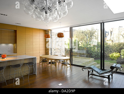 Farrer House, London, United Kingdom. Architect: West Architecture, 2013. Overall interior view. - Stock Photo