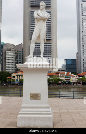 Statue of Sir Stamford Raffles, Boat Quay, Singapore - Stock Photo