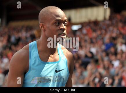 Birmingham, UK. 30th June 2013. James Dasaolu (GBR). Mens 100m.  Sainsburys Grand Prix. Diamond League. Alexander - Stock Photo