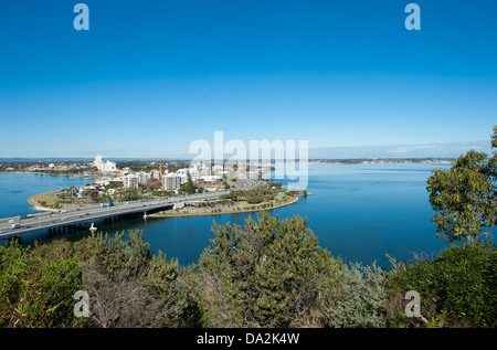 View from Mount Eliza's Kings Park across Swan river (r.) towards Mitchell Freeway and South Perth, Western Australia - Stock Photo