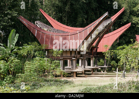 Traditional Torajan houses (tongkonan) in local village, Tona Toraja, Sulawesi, Indonesia - Stock Photo