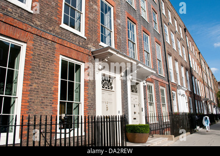 Terraced houses in Bedford Row, Holborn, London, WC1, UK - Stock Photo