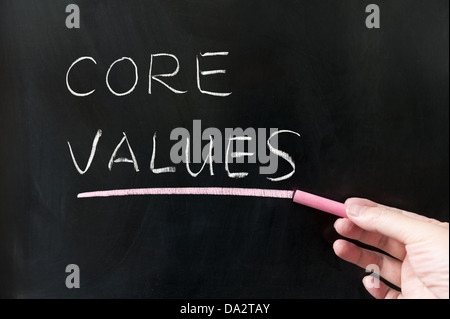 Core values words written on blackboard - Stock Photo