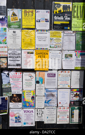 Local community notice board in town centre of Malton Ryedale North Yorkshire England UK - Stock Photo