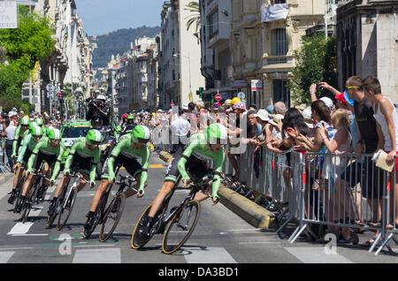 Nice, France. 2nd July, 2013. Riders of Belkin Pro Cycling team compete during the 25 km team time-trial and fourth - Stock Photo