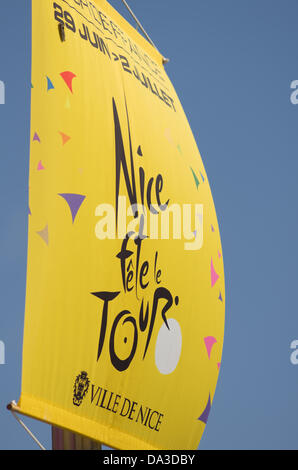 Nice, France. 2nd July, 2013. The official poster of the ville de nice for the 4 stage of tour de france Credit: - Stock Photo