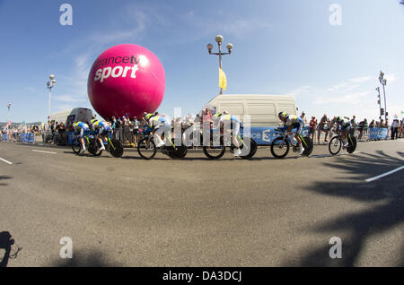 Nice, France. 2nd July, 2013. team compete during the 25 km team time-trial and fourth stage of the 100th edition - Stock Photo