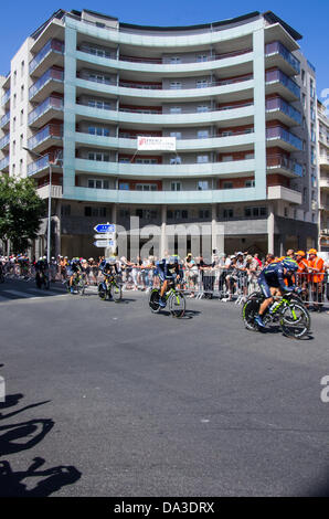 Nice, France. 2nd July, 2013. Riders of Movistar team compete during the 25 km team time-trial and fourth stage - Stock Photo