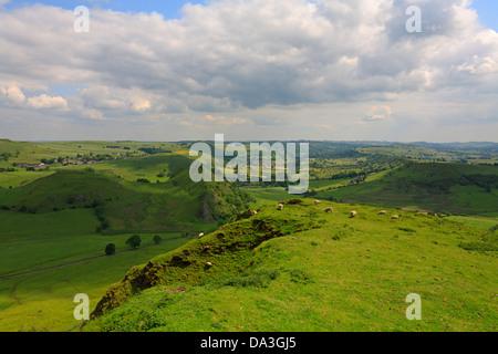 Parkhouse Hill from Chrome Hill near Longnor, Derbyshire, Peak District National Park, England, UK. - Stock Photo