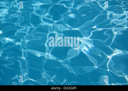 Water reflections in the swimming pool on a sunny day - Stock Photo