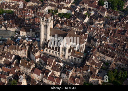 COLLEGIALE NOTRE-DAME BASILICA (aerial view). Dole, Jura, Franche Comté, France. - Stock Photo