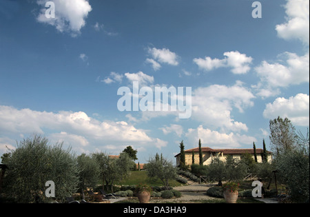 Traditional country side house in Gambassi Terme in Tuscany, Italy - Stock Photo