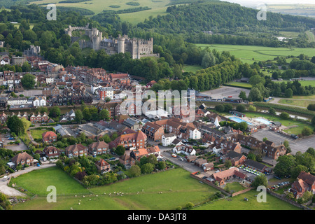 ARUNDEL CASTLE OVERLOOKING THE OLD TOWN (aerial view). West Sussex, England, Great Britain, United Kingdom.