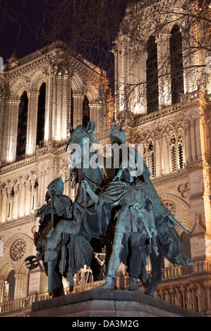 Landmarks of France. This bronze statue of Charlemagne (also known as Charles the Great) is situated in front of - Stock Photo