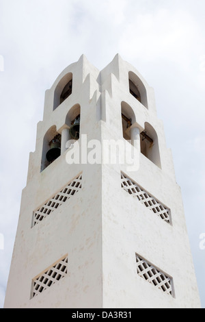 Bell tower of Fira Orthodox Cathedral, Santorini Greece - Stock Photo