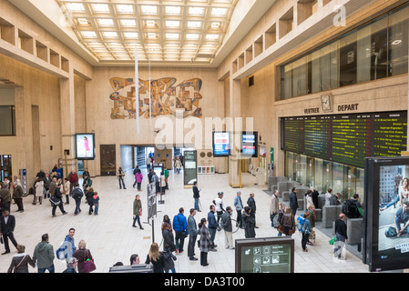 BRUSSELS, Belgium - The main concourse inside Gare Centrale (Central Station) in Brussels, Belgium. - Stock Photo