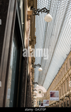 BRUSSELS, Belgium - The distinctive glass domed roof of the Galeries St-Hubert in the Lower Town of Brussels, Belgium. - Stock Photo