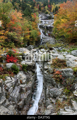 A Waterfall During Autumn At Crawford Notch State Park In The White Mountains Of New Hampshire, USA - Stock Photo