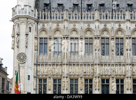 BRUSSELS, Belgium - Detail of the front exterior of the Town Hall (Hotel de Ville) in the Grand Place, Brussels. - Stock Photo