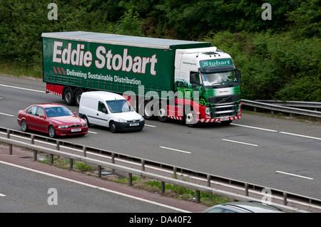 Eddie Stobart lorry on M40 motorway, Warwickshire, UK - Stock Photo