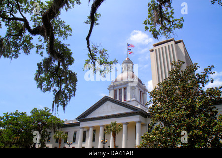 Tallahassee Florida Florida State Capitol Historic Old Capitol Classical Revival museum building live oak trees - Stock Photo