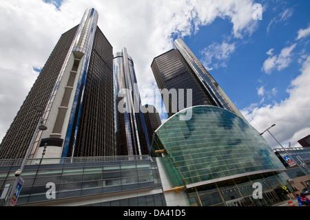 General Motors corporate headquarters is seen in Detroit Renaissance Center - Stock Photo
