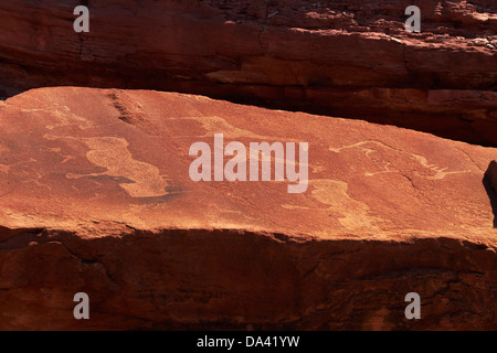 Ancient rock etchings, Twyfelfontein UNESCO World Heritage Site, Damaraland, Namibia, Africa - Stock Photo
