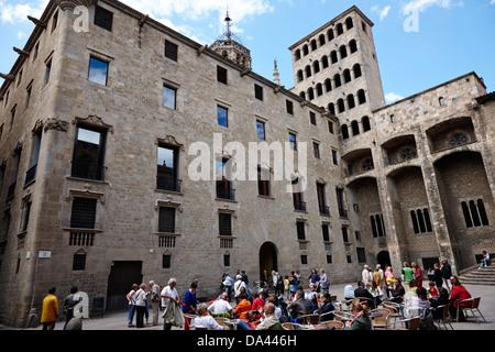 palace of lloctinent in palacio real mayor plaza del rey barcelona catalonia spain - Stock Photo