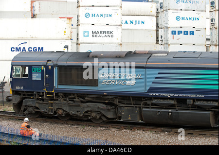 Direct Rail Services freight train leaving the port of Felixstowe Suffolk UK - Stock Photo