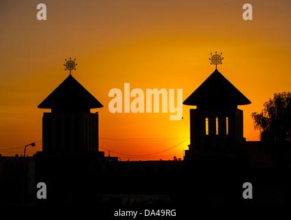 Sunset Over Enda Mariam Orthodox Cathedral, Asmara Eritrea - Stock Photo