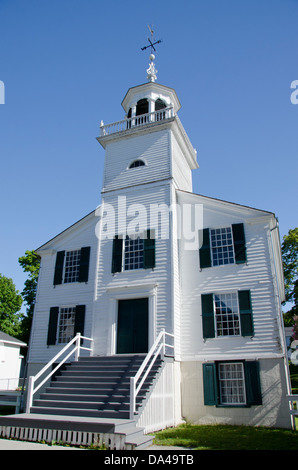 Michigan, Mackinac Island. Historic Mission Church, c. 1829-1830. - Stock Photo