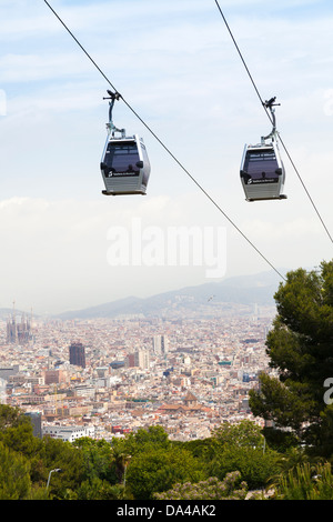 The Montjuic cable car with Barcelona Panorama - Stock Photo