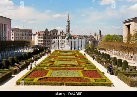Jardin du Mont des Arts, central Brussels, Belgium. - Stock Photo